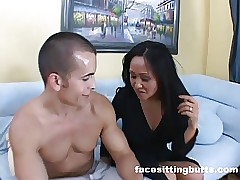mom sits on sons face - mature wife fucking